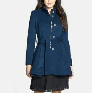 Betsey Johnson Belted Skirted Wool Blend Coat
